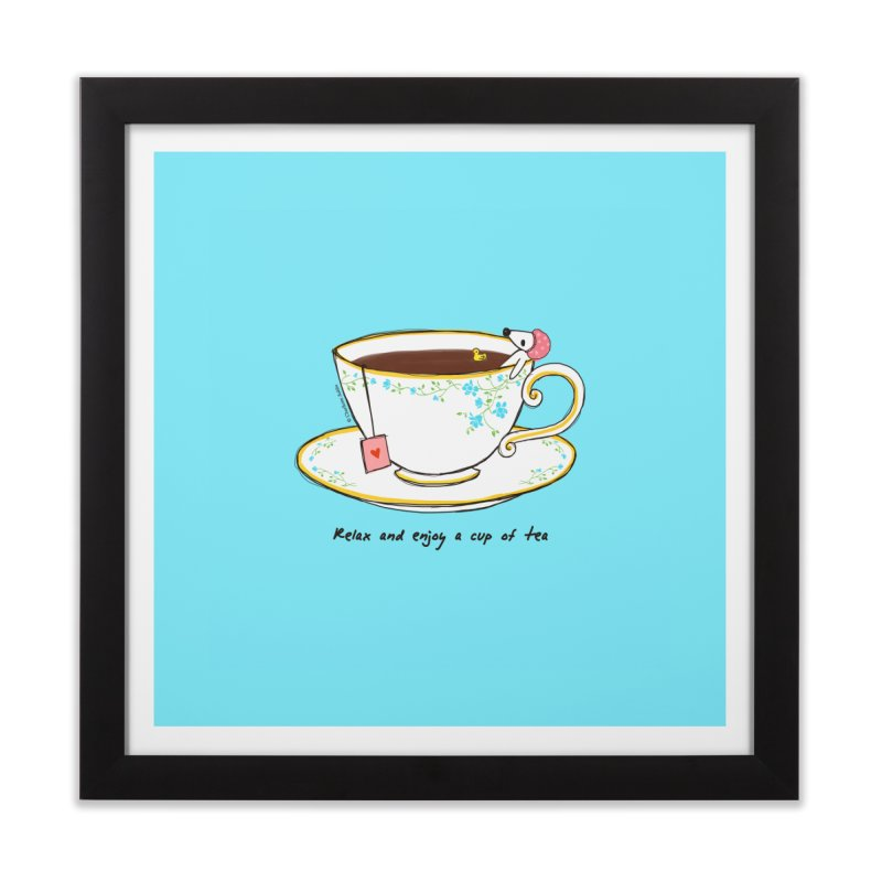 Relax & Enjoy a Cup of Tea Home Framed Fine Art Print by Dollgift by Charllotte Ashlie
