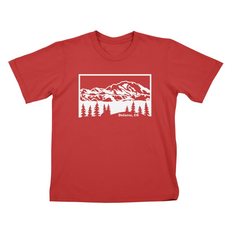Colorado Mountains Kids T-Shirt by dolores outfitters's Artist Shop