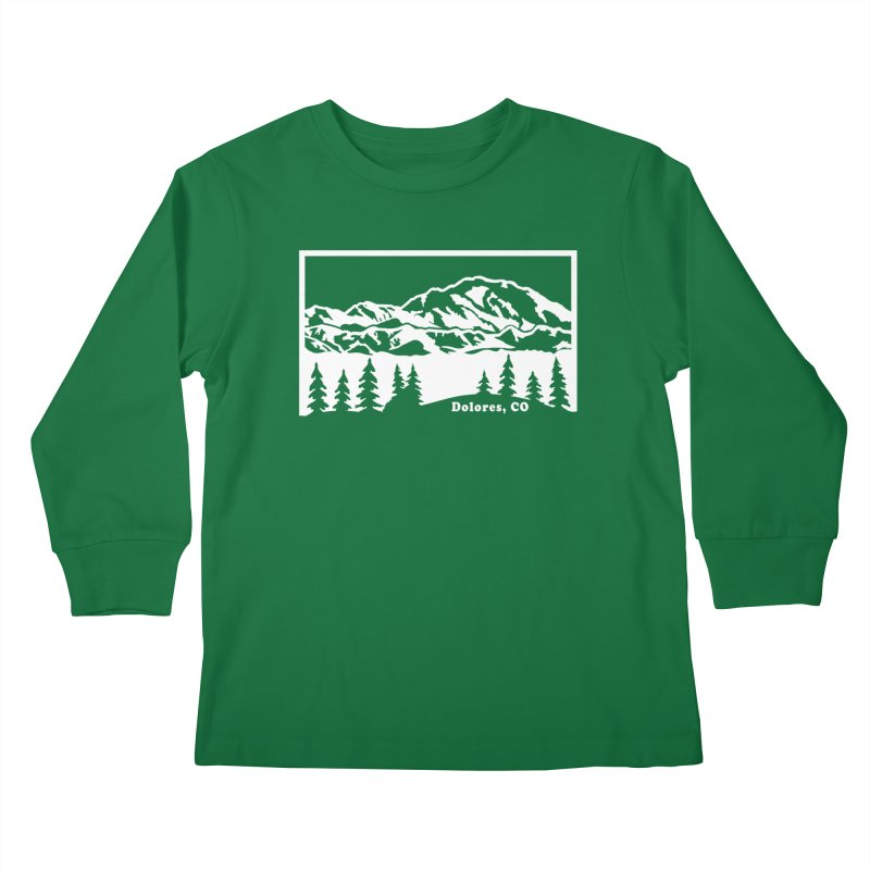 Colorado Mountains Kids Longsleeve T-Shirt by dolores outfitters's Artist Shop
