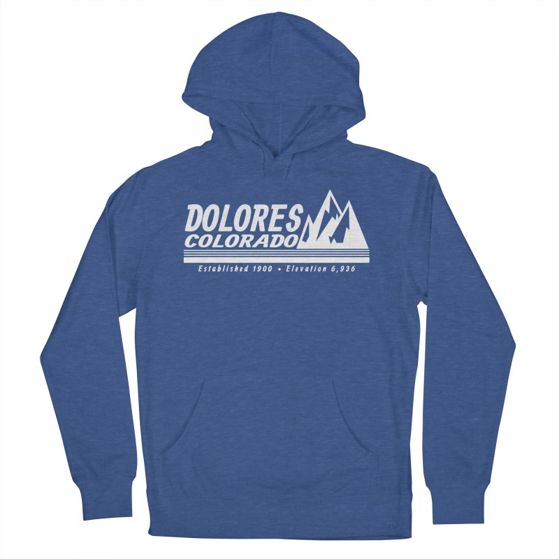 Dolores Colorado Elev. in Men's French Terry Pullover Hoody Heather Royal by dolores outfitters's Artist Shop