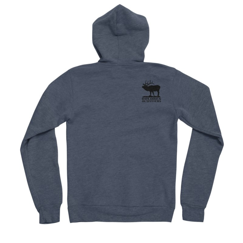 Elk Pocket Design - Black Men's Sponge Fleece Zip-Up Hoody by dolores outfitters's Artist Shop