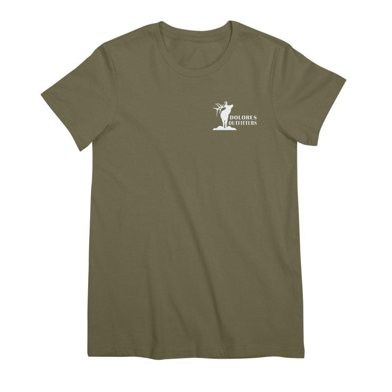 Elk Pocket Design - White Women's Premium T-Shirt by dolores outfitters's Artist Shop