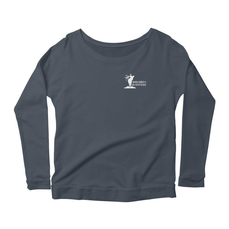 Elk Pocket Design - White Women's Scoop Neck Longsleeve T-Shirt by dolores outfitters's Artist Shop