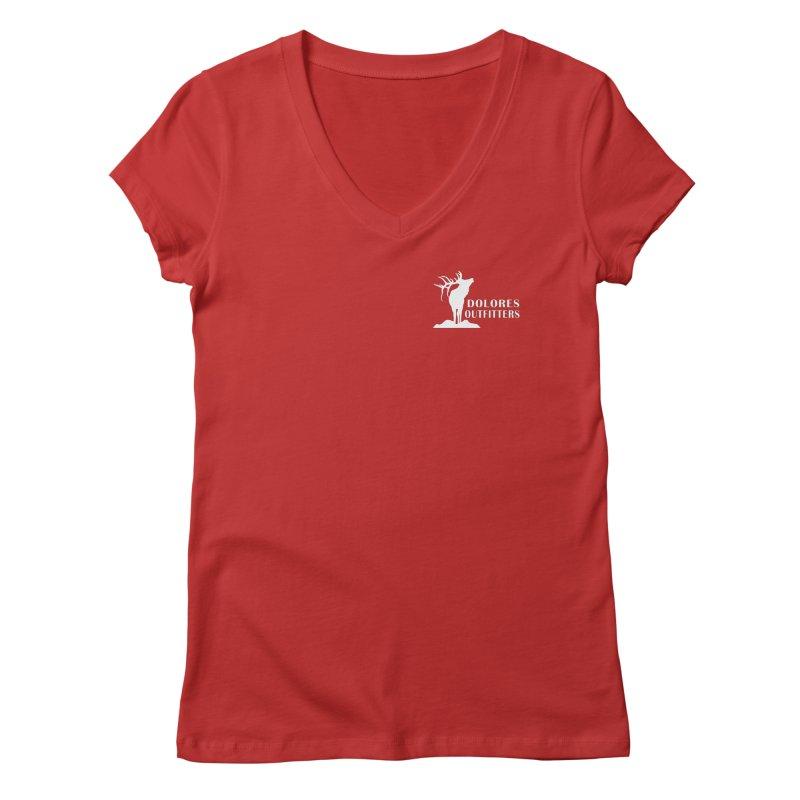 Elk Pocket Design - White Women's Regular V-Neck by dolores outfitters's Artist Shop