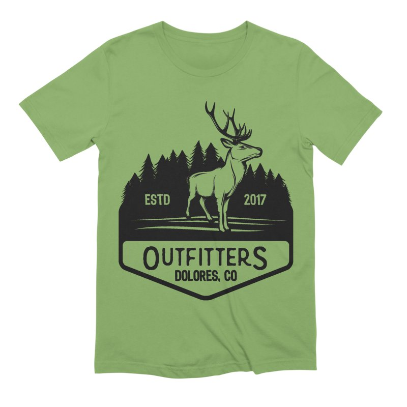 Outfitters Deer Logo in Men's Extra Soft T-Shirt Avocado by dolores outfitters's Artist Shop