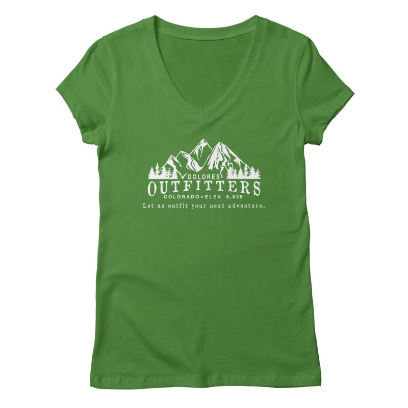 Dolores Outfitters Logo - White Women's Regular V-Neck by dolores outfitters's Artist Shop
