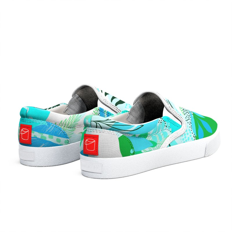 Tropicalia Foliage pattern in Blue and aqua Men's Shoes by dominiquevari's Artist Shop