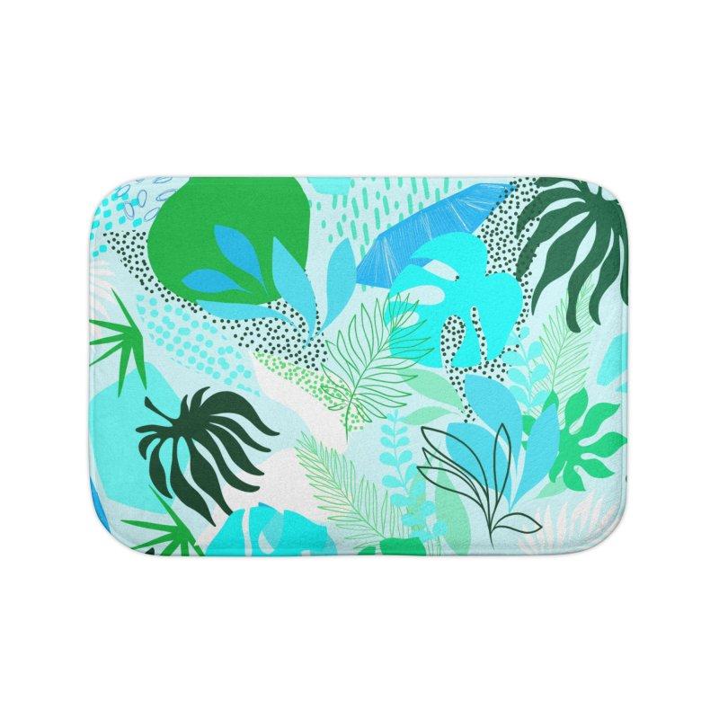 Tropicalia Foliage pattern in Blue and aqua Home Bath Mat by dominiquevari's Artist Shop