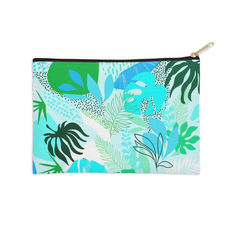 Tropicalia Foliage pattern in Blue and aqua Accessories Zip Pouch by dominiquevari's Artist Shop
