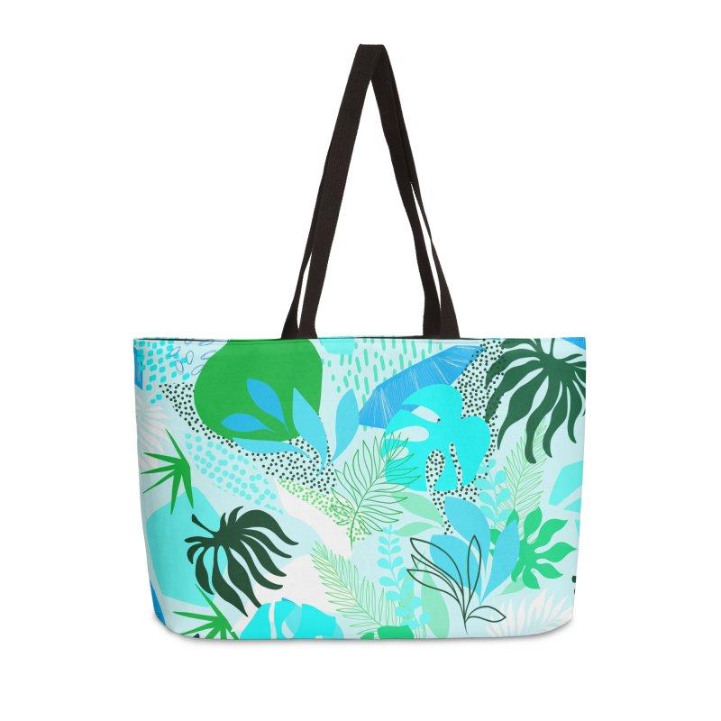 Tropicalia Foliage pattern in Blue and aqua Accessories Bag by dominiquevari's Artist Shop