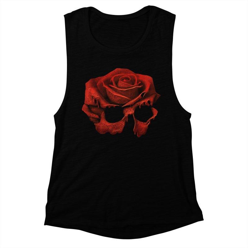 Original 3-D Rose Skull Women's Tank by Dommin's Shop