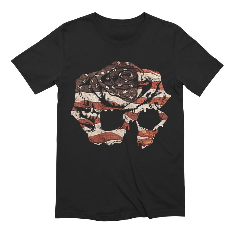 Dommin Patriotic Rose Skull Men's T-Shirt by Dommin's Shop