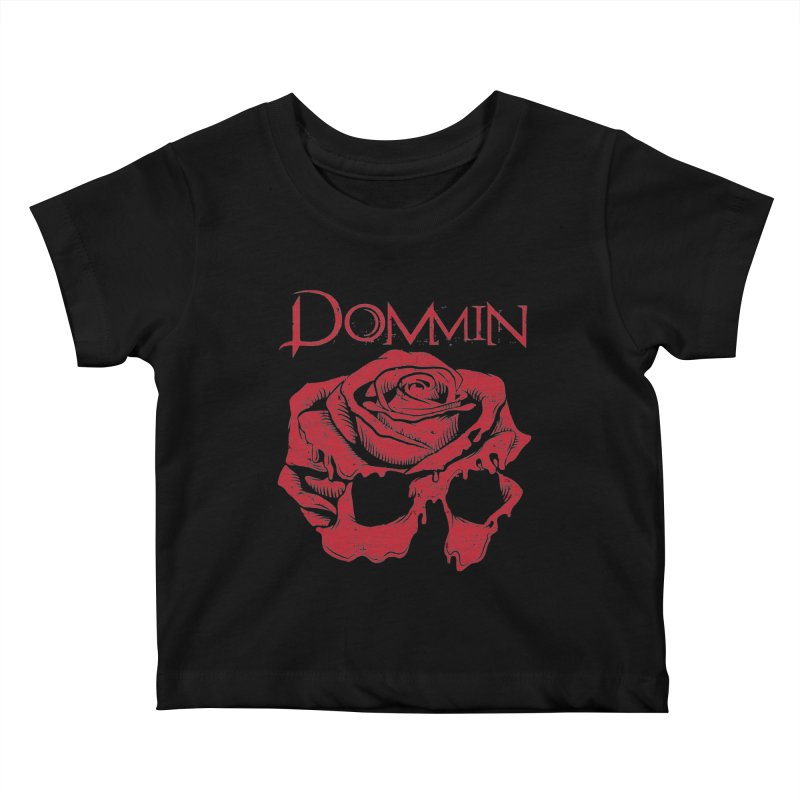 Red Rose Skull Kids Baby T-Shirt by Dommin's Shop