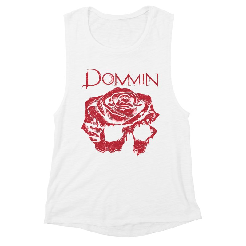 Red Rose Skull Women's Muscle Tank by Dommin's Shop
