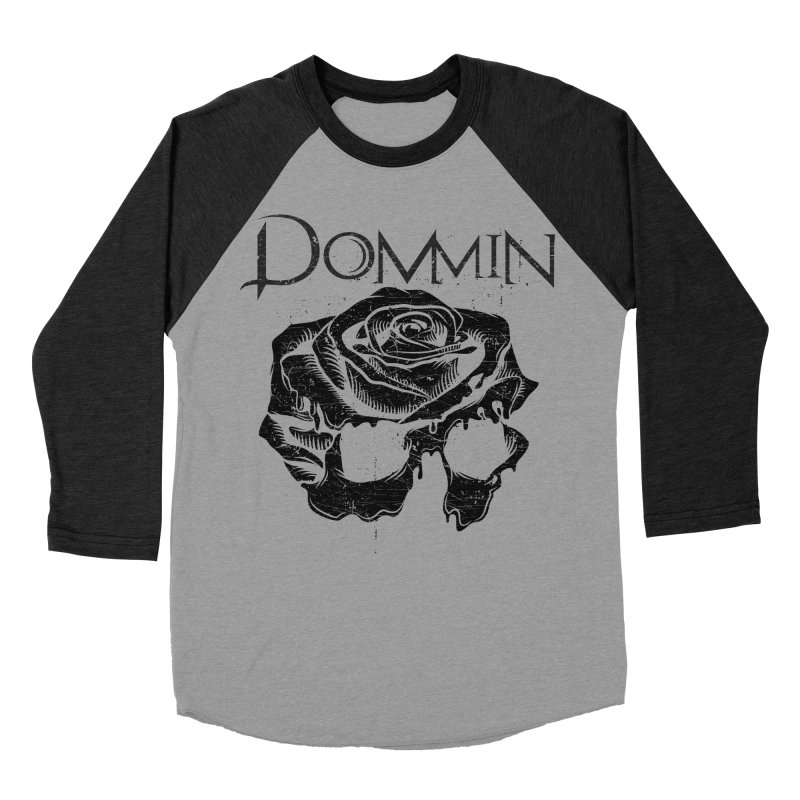Black Rose Skull Men's Baseball Triblend Longsleeve T-Shirt by Dommin's Shop