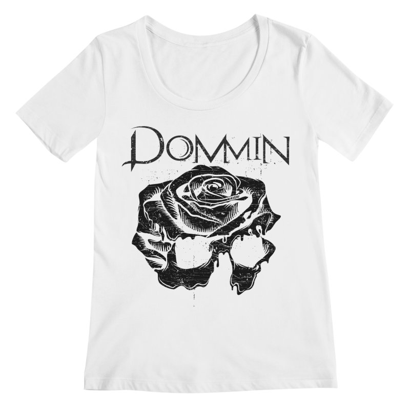 Black Rose Skull Women's Scoop Neck by Dommin's Shop