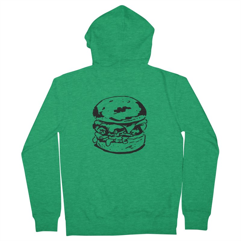 Burger Men's French Terry Zip-Up Hoody by Donal Mangan's Artist Shop