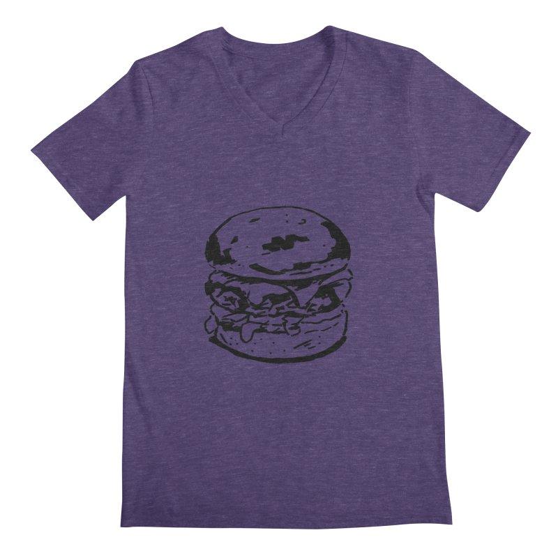 Burger Men's Regular V-Neck by Donal Mangan's Artist Shop