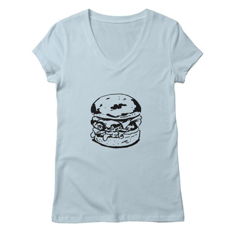 Burger Women's V-Neck by Donal Mangan's Artist Shop
