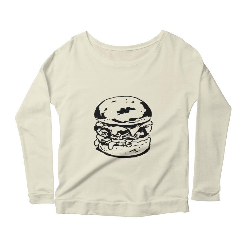 Burger Women's Longsleeve Scoopneck  by Donal Mangan's Artist Shop