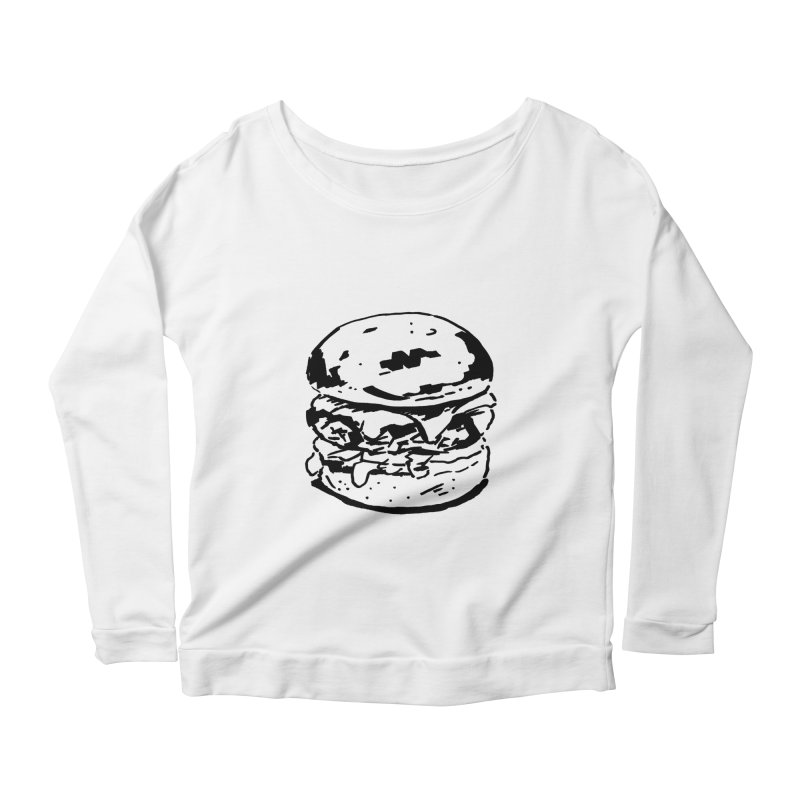 Burger Women's Scoop Neck Longsleeve T-Shirt by Donal Mangan's Artist Shop