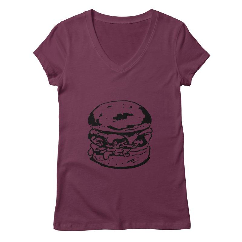 Burger Women's Regular V-Neck by Donal Mangan's Artist Shop