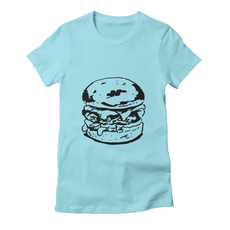 Burger Women's Fitted T-Shirt by Donal Mangan's Artist Shop