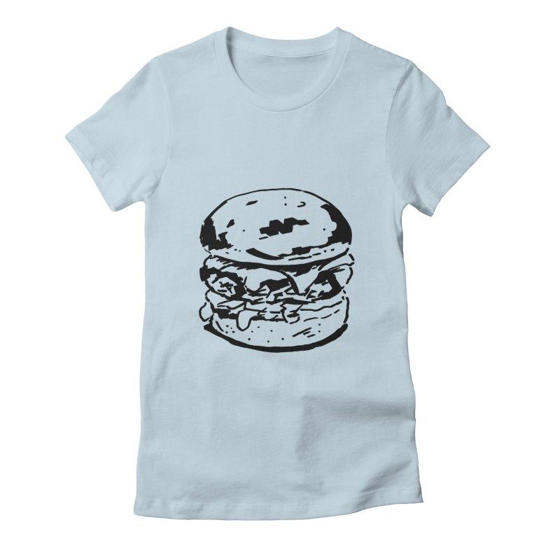 Burger Women's Fitted T-Shirt by Donal Mangan's Artist Shop