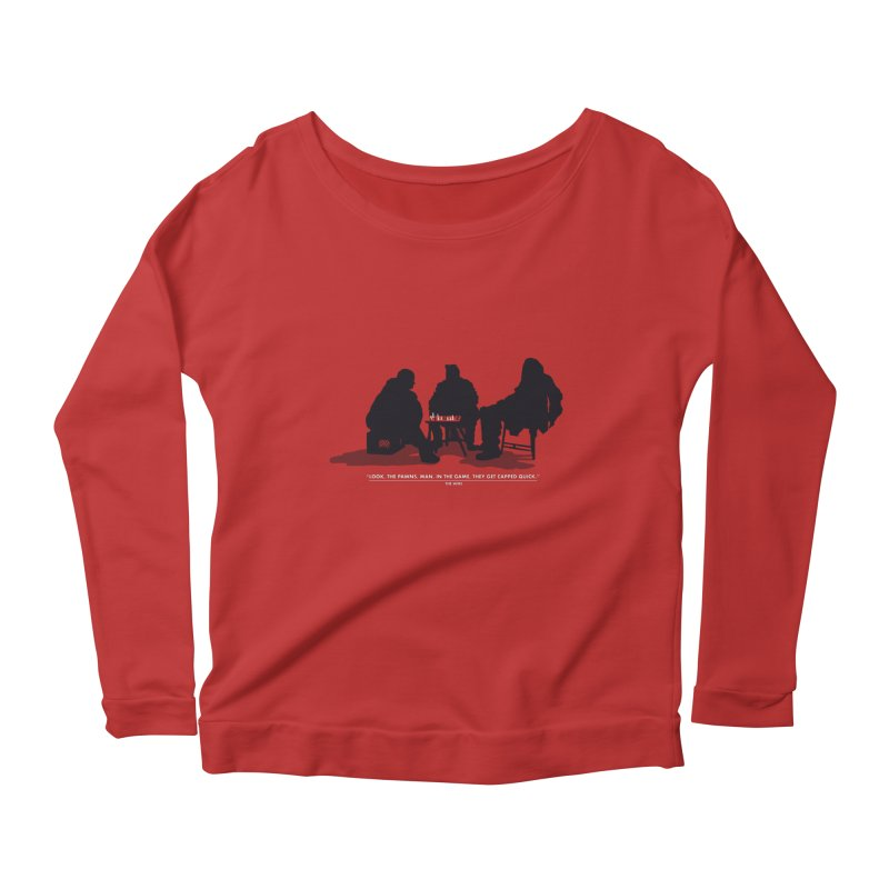 Checkers On A Chess Set Women's Longsleeve Scoopneck  by Donal Mangan's Artist Shop