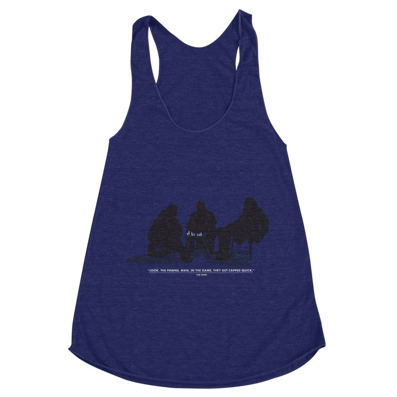 Checkers On A Chess Set Women's Racerback Triblend Tank by Donal Mangan's Artist Shop