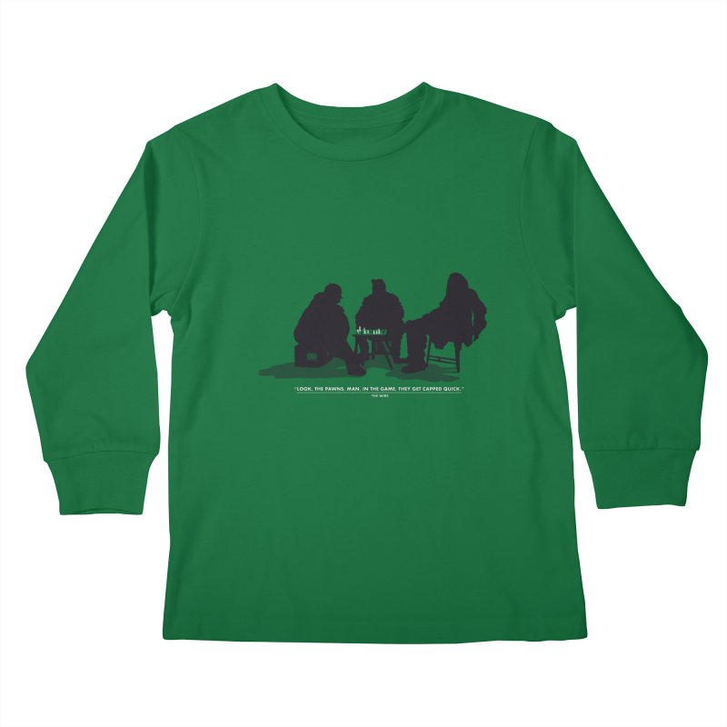 Checkers On A Chess Set Kids Longsleeve T-Shirt by Donal Mangan's Artist Shop