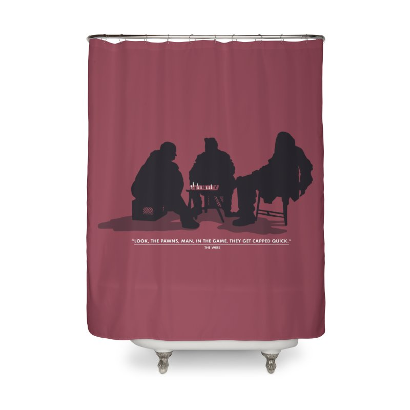 Checkers On A Chess Set Home Shower Curtain by Donal Mangan's Artist Shop