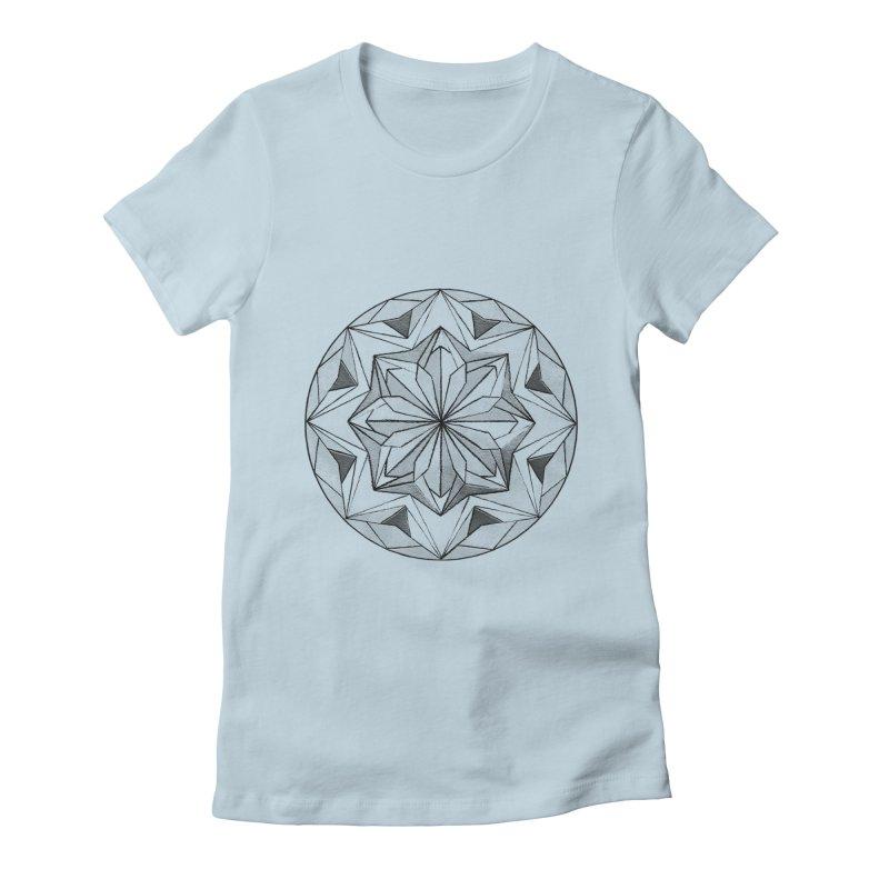 Kaleidoscope Black Women's Fitted T-Shirt by Donal Mangan's Artist Shop