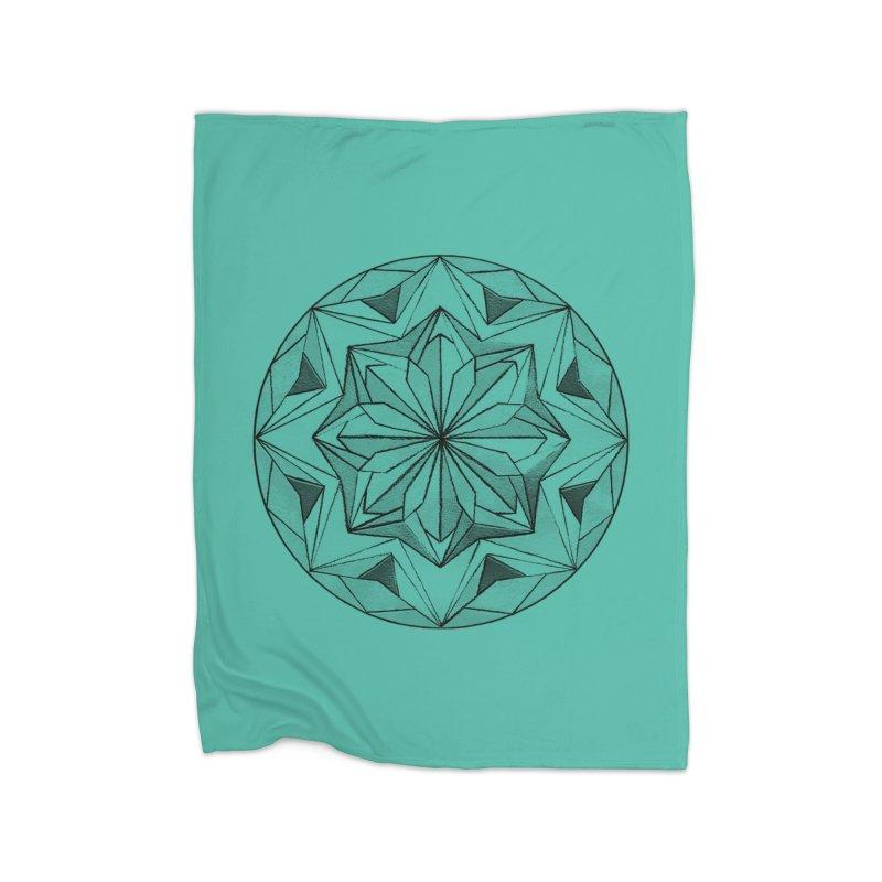 Kaleidoscope Black Home Fleece Blanket Blanket by Donal Mangan's Artist Shop