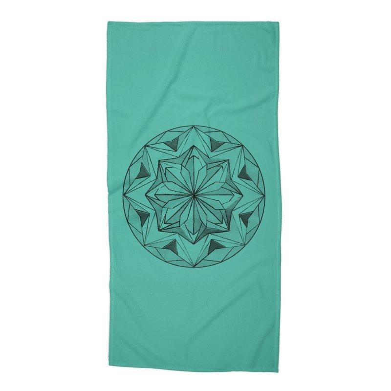 Kaleidoscope Black Accessories Beach Towel by Donal Mangan's Artist Shop