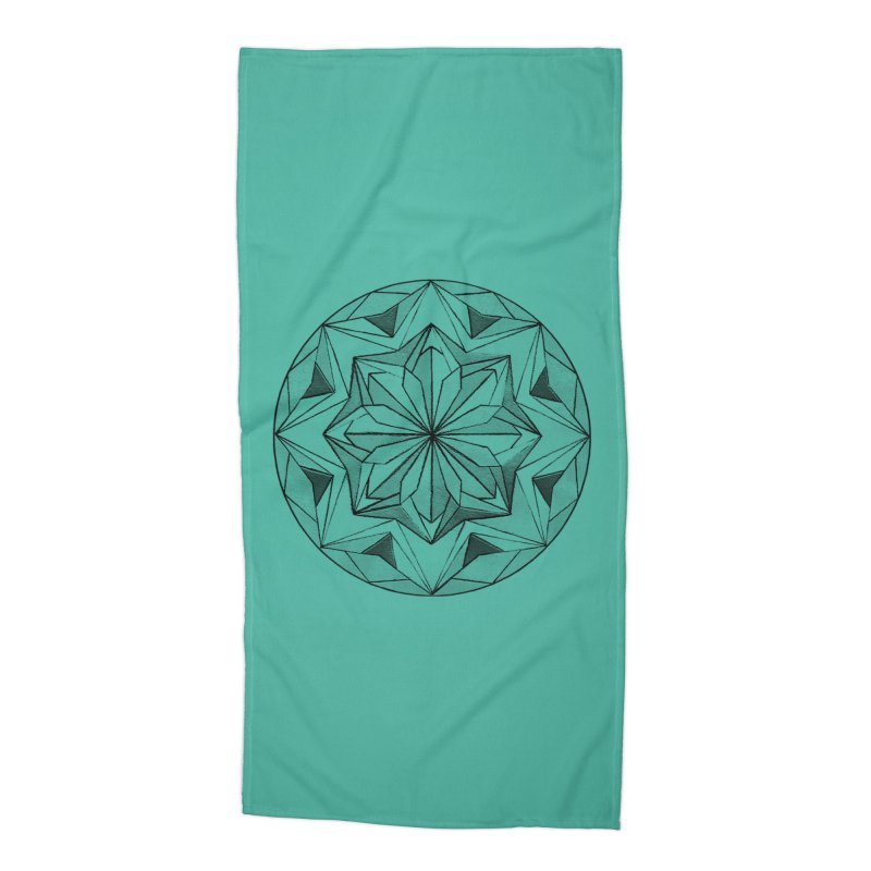 Kaleidoscope Black Accessories Beach Towel by Donal Mangan's Artist Shop