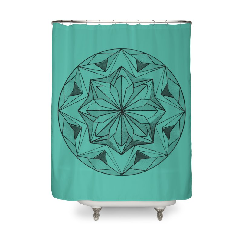 Kaleidoscope Black Home Shower Curtain by Donal Mangan's Artist Shop