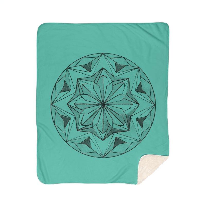 Kaleidoscope Black Home Sherpa Blanket Blanket by Donal Mangan's Artist Shop