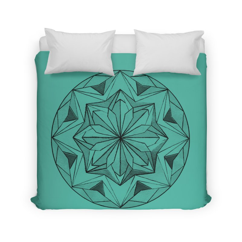 Kaleidoscope Black Home Duvet by Donal Mangan's Artist Shop