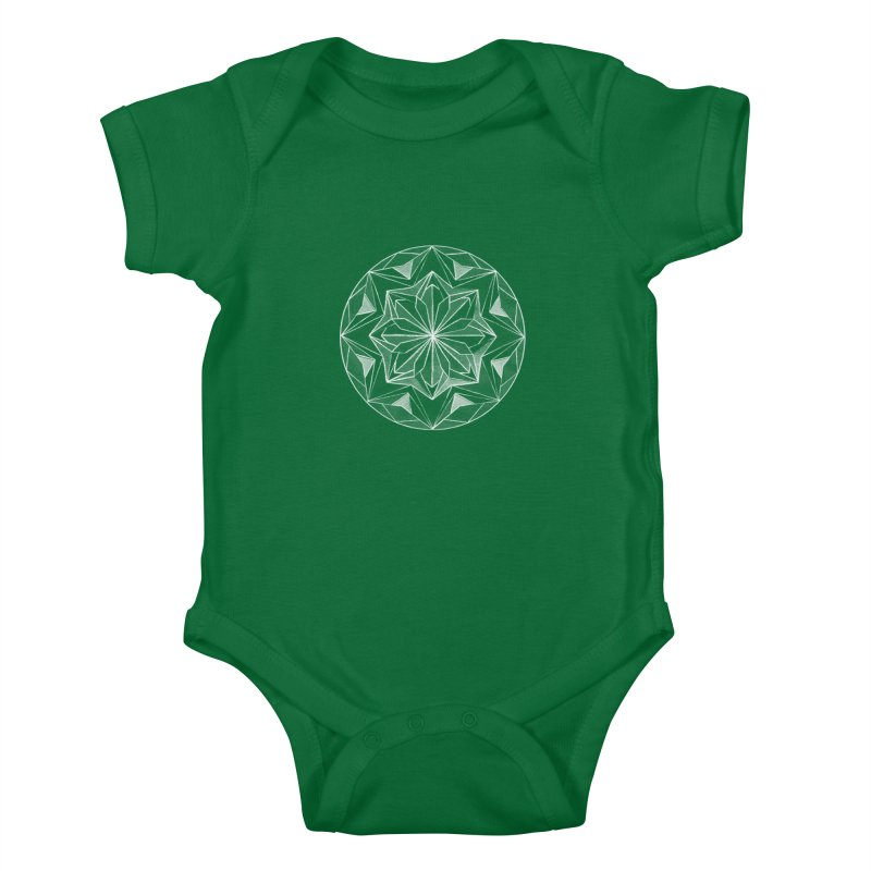Kaleidoscope White Kids Baby Bodysuit by Donal Mangan's Artist Shop