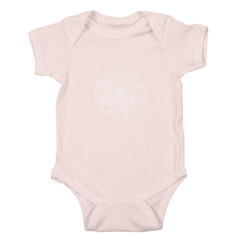 Kaleidoscope White Kids Baby Bodysuit by Donal Mangan's Artist Shop