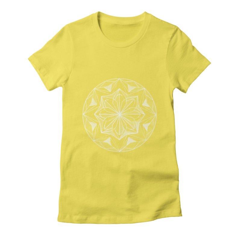 Kaleidoscope White Women's Fitted T-Shirt by Donal Mangan's Artist Shop