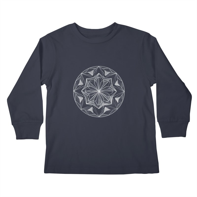 Kaleidoscope White Kids Longsleeve T-Shirt by Donal Mangan's Artist Shop