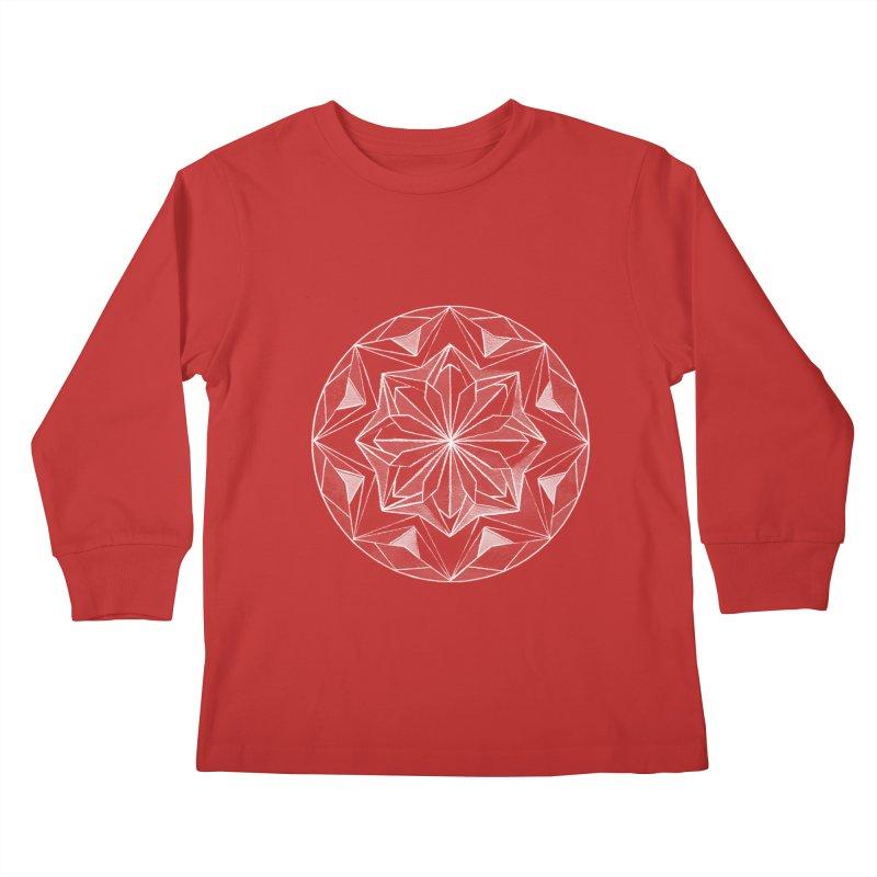 Kaleidoscope White Kids Longsleeve T-Shirt by Donal Mangan's Artist Shop