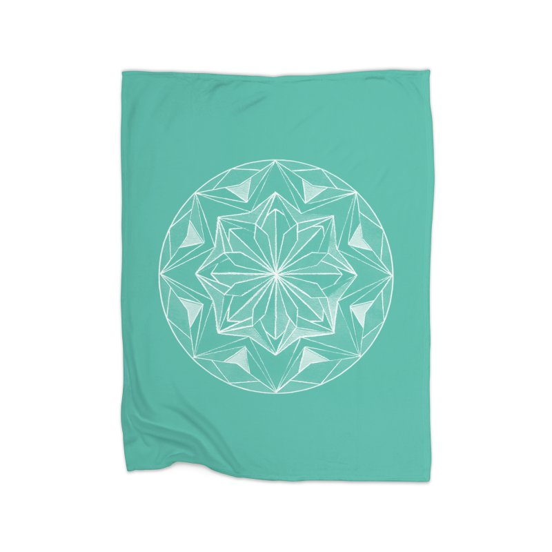 Kaleidoscope White Home Fleece Blanket Blanket by Donal Mangan's Artist Shop