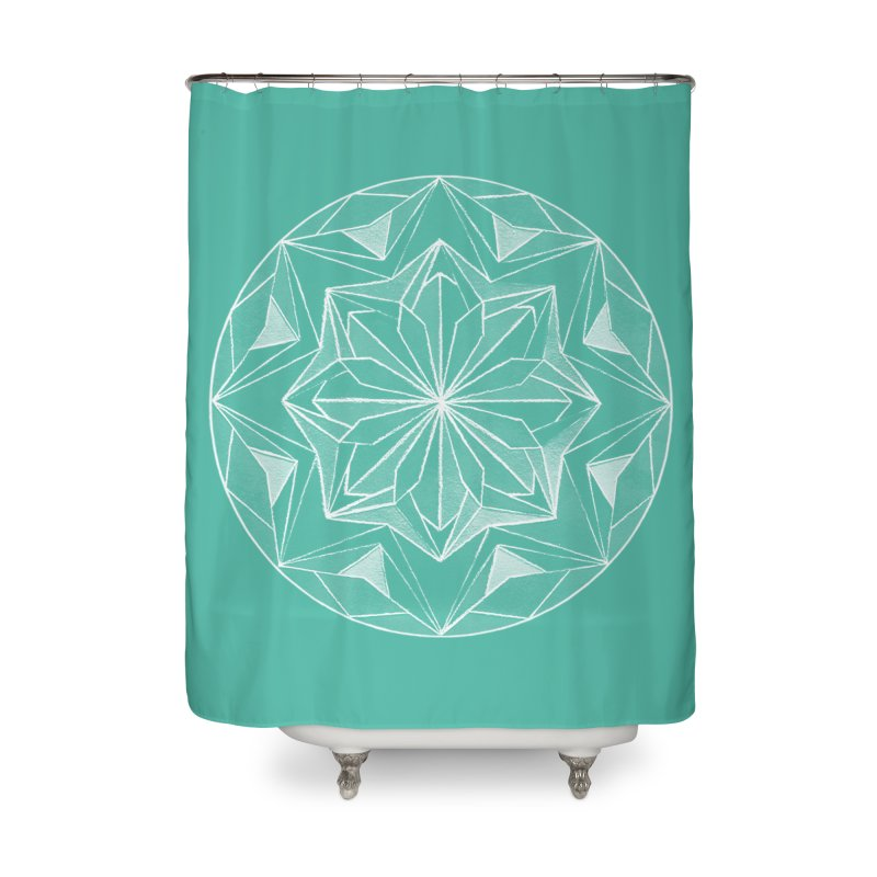 Kaleidoscope White Home Shower Curtain by Donal Mangan's Artist Shop