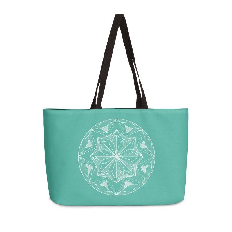 Kaleidoscope White Accessories Weekender Bag Bag by Donal Mangan's Artist Shop