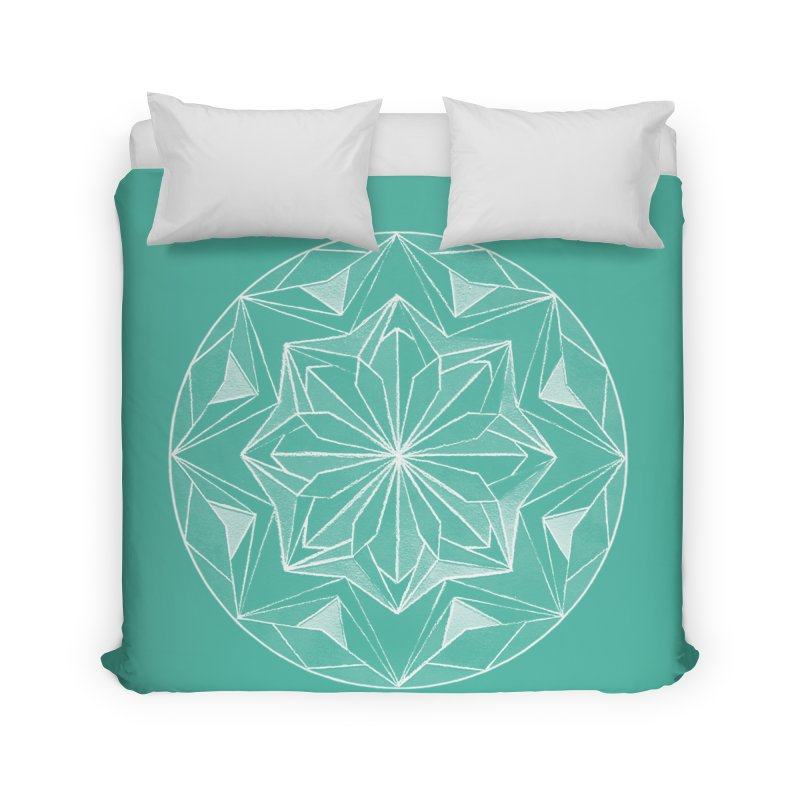 Kaleidoscope White Home Duvet by Donal Mangan's Artist Shop