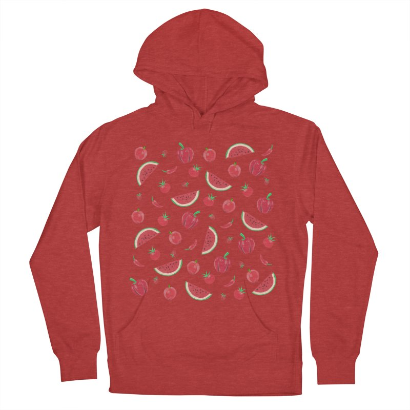 Red Fruit Women's French Terry Pullover Hoody by Donal Mangan's Artist Shop