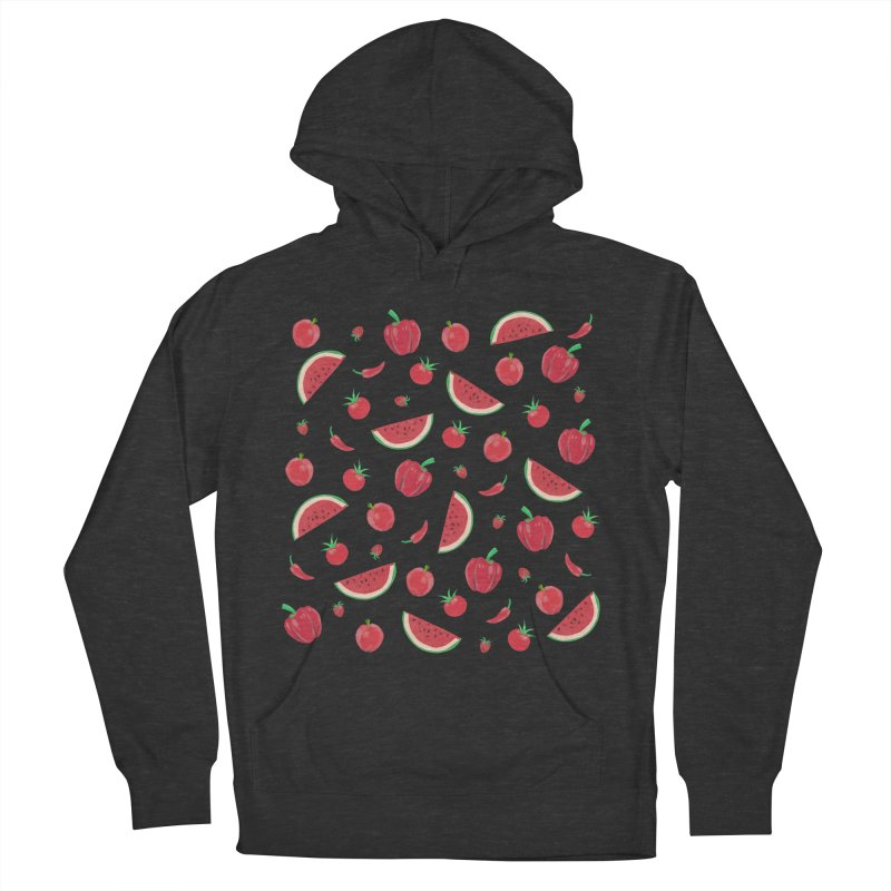 Red Fruit Men's French Terry Pullover Hoody by Donal Mangan's Artist Shop